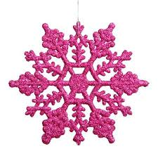 club pack of 24 pink magenta glitter snowflake ornaments