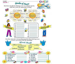 grammar worksheets grade 1 gender of nouns