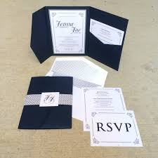 wedding pocket invitations 5x7 navy and silver vintage pocket wedding invitation with
