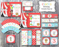 Circus Birthday Decorations Carnival Circus Birthday Theme Party Invitation Card Printable Diy