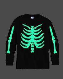 Boys Skeleton Halloween Costume Skeleton Shirt Glows Dark Quickly