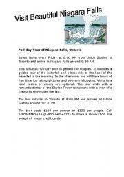 worksheet niagara falls travel brochure