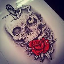 flower and skull black and white design idea tattoos