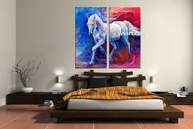 2 piece wildlife blue horse oil paintings artwork bedroom decor 2 piece wall art scenery wall art wildlife wall decor