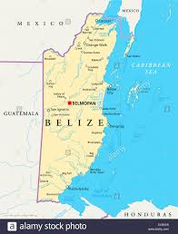 United States Map With States And Capitals Labeled by Political Map Of Belize With Capital Belmopan National Borders