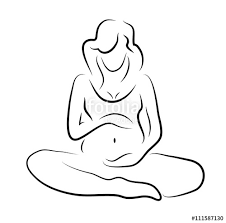 pregnant woman silhouette sketch isolated vector symbol