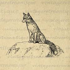 printable art business printable image noble fox antique graphic digital download small