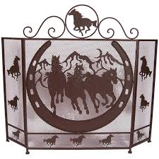 deleon collections horse horse shoe design metal fireplace