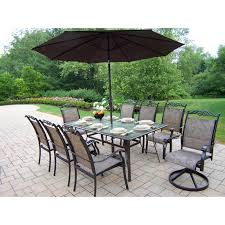 Cast Aluminum Patio Dining Sets - oakland living cascade patio dining set with umbrella and stand