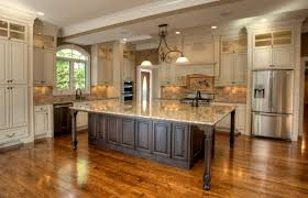 kitchen style white hanging pendant lights hardwood floors brown