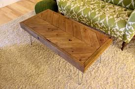 chevron reclaimed wood coffee table on hairpin legs made to
