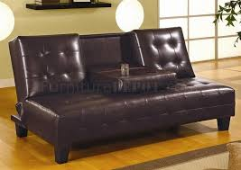 chocolate brown bycast leather sofa bed w flip down tray
