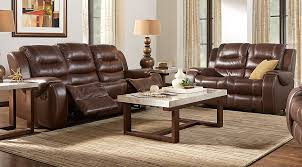 Reclining Sofa Leather Veneto Brown Leather 5 Pc Living Room With Reclining Sofa
