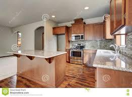 kitchen room interior with brown cabinets kitchen island granite