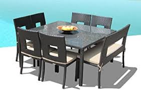 Square Kitchen Table With Bench Amazon Com Outdoor Patio Wicker Furniture New Resin 8 Pc Square