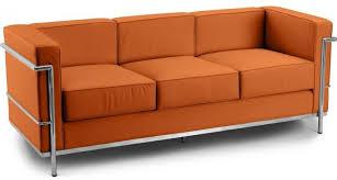 canap le corbusier pas cher canapé 3 places cuir terre cuite inspiré lc2 le corbusier