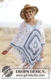 drops design poncho bohemian blues drops 162 2 free crochet patterns by drops design