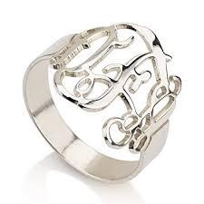 monogram ring monogram ring 925 sterling silver monogram ring