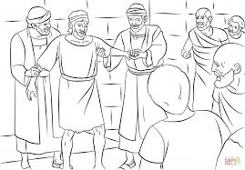 paul and barnabas in lystra coloring page free printable