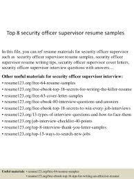 Security Supervisor Resume Marriott Security Officer Cover Letter
