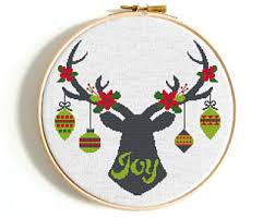 Deer Christmas Decorations Funny by Modern Cross Stitch Pattern Baby Wedding Animal By Nikkipattern