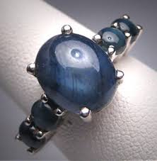 vintage blue star sapphire ring wedding band retro art deco