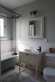 bathroom wainscoting vintage decor idea with walk in shower also