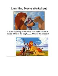 lion king movie worksheet food chain by all styles child store tpt