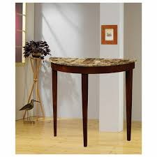 furniture brown finish wood half moon shaped console table with