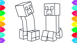 drawing minecraft creeper boy and coloring pages for kids