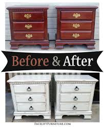 White Distressed Bedroom Furniture Distressed Antiqued White Nightstands Before U0026 After Facelift