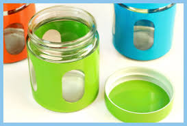green orange glass canisters set 3 kitchen sugar tea