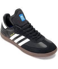 white samba adidas samba adv black white gum shoes zumiez