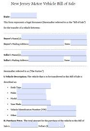 printable vehicle bill of sale free new jersey motor vehicle car auto bill of sale form pdf