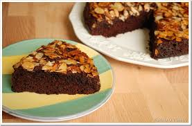 chocolate almond upside down cake