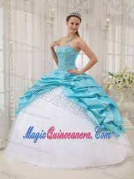 aqua blue and white sweet 15 dresses with beading and pick ups