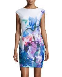julia jordan floral cap sleeve sheath scuba dress in blue lyst