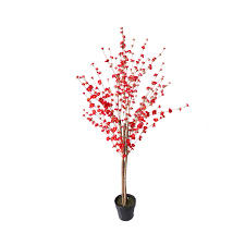artificial blossom tree 1 5m with red blossom flowers