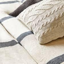 striped linen duvet cover with herringbone effect cama