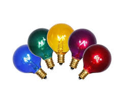 pack of 5 transparent multi color g40 globe christmas replacement
