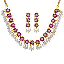 red necklace images Buy sri jagdamba pearls red stone necklace set jpg;w