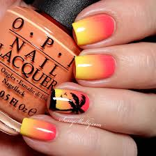 nail design center sã d tropical sunset gradient with a palm tree silhouette nail by