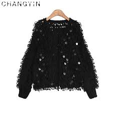changyin autumn sequin sweater 2017 for top sleeve