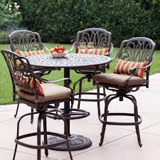 Patio Bar Height Table And Chairs Darlee Elisabeth 5 Cast Aluminum Patio Bar Set With Swivel