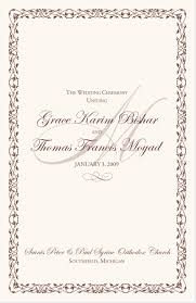 wedding ceremony bulletin template wedding program wording templates for and russian orthodox