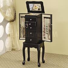 Kirklands Jewelry Armoire Furniture Eiffel Black Jewelry Armoire With Five Drawers For Home