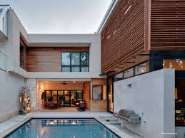Tiny Pool House Brown Wooden Wall And Pale White Wall Added By Glass Windows And