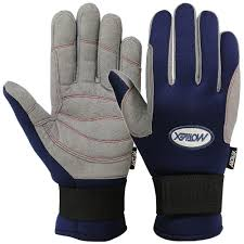 sailing gloves full finger style yachting glove in blue grey color
