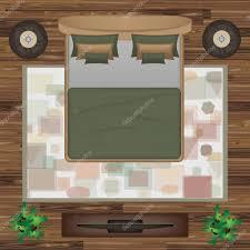 bed pillows carpet pouf plants vector illustration bedroom bedroom furniture set for interior design scene creator interior top view architectural floor plan vector by am2vectors