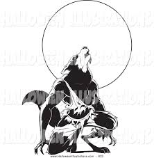 halloween clip art of a scary werewolf howling under a full moon